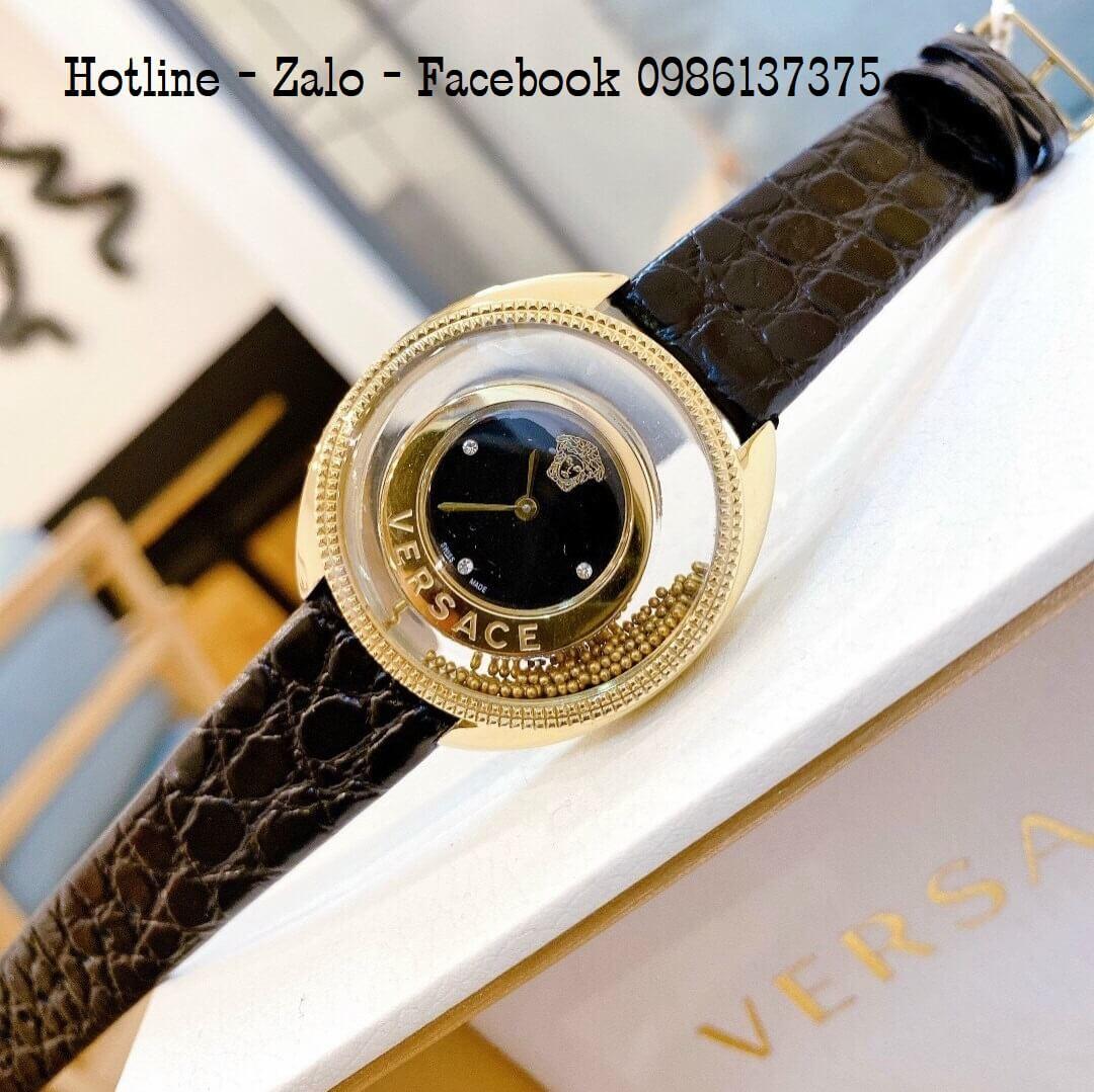 Đồng Hồ Nữ Versace Destiny Oval Dây Da Đen 37mm
