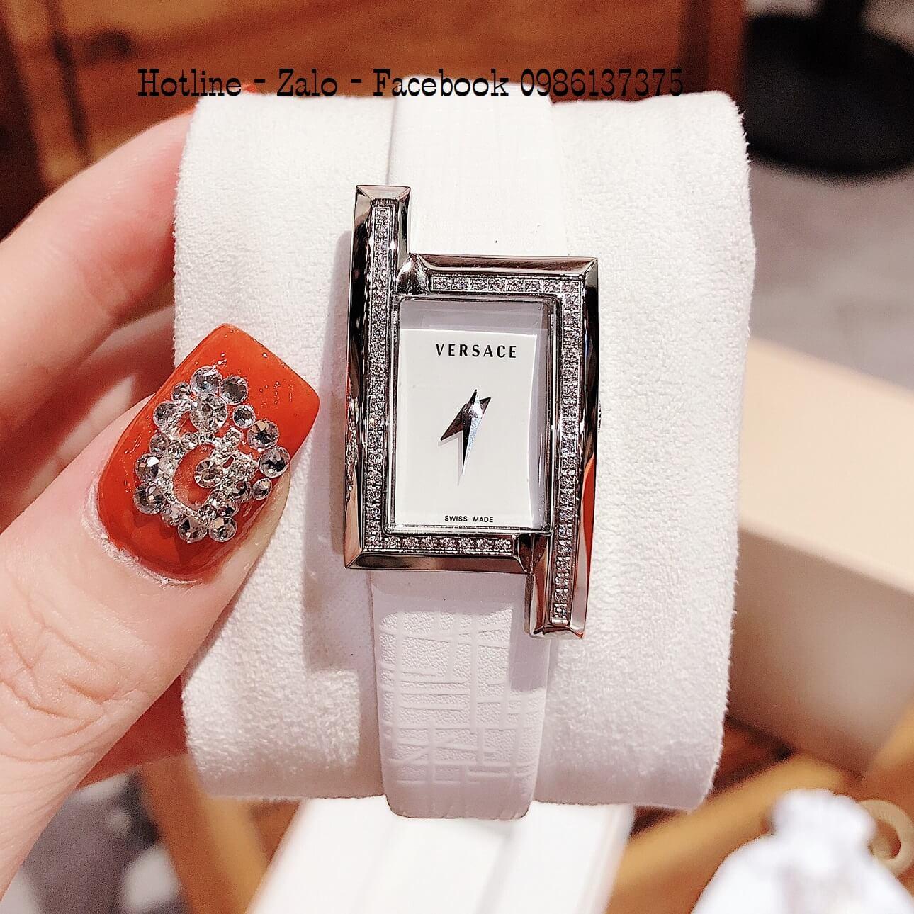 Đồng Hồ Nữ Versace Greca Icon Dây Da Trắng Đính Đá 39x21mm Silver