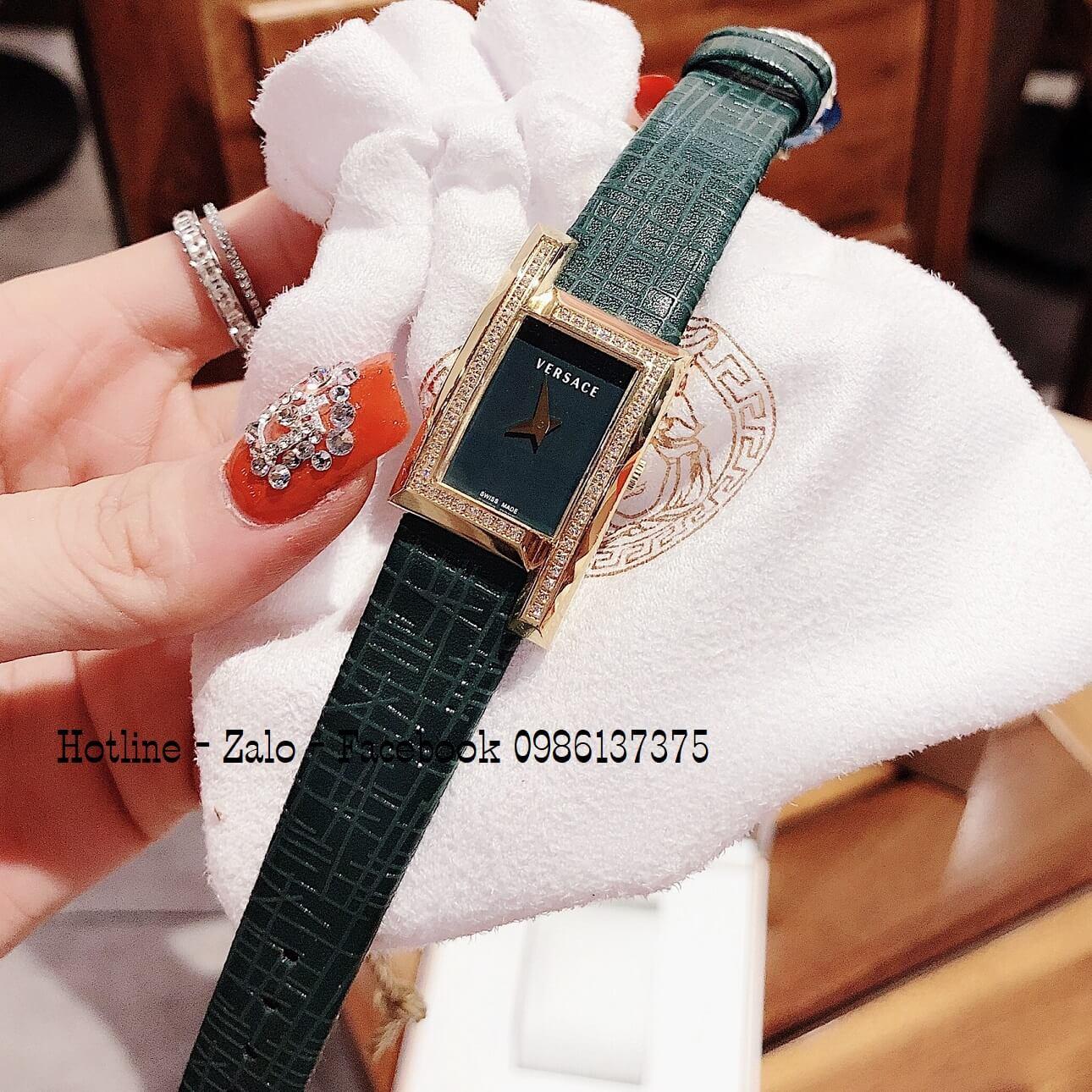 Đồng Hồ Nữ Versace Greca Icon Dây Da Xanh Đính Đá 39x21mm