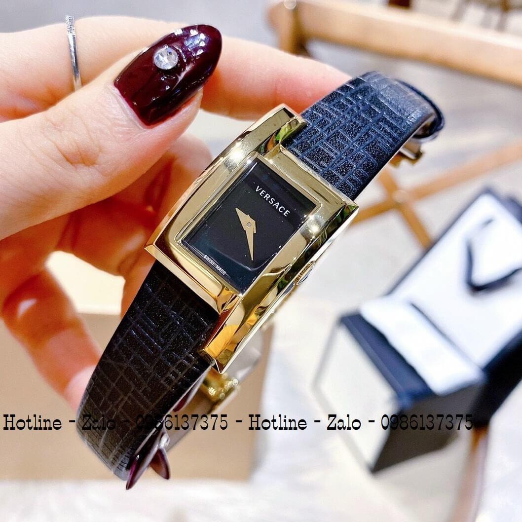 Đồng Hồ Nữ Versace Greca Icon Dây Da Đen Gold 30mm