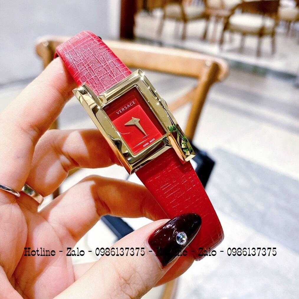 Đồng Hồ Nữ Versace Greca Icon Dây Da Đỏ Gold 30mm