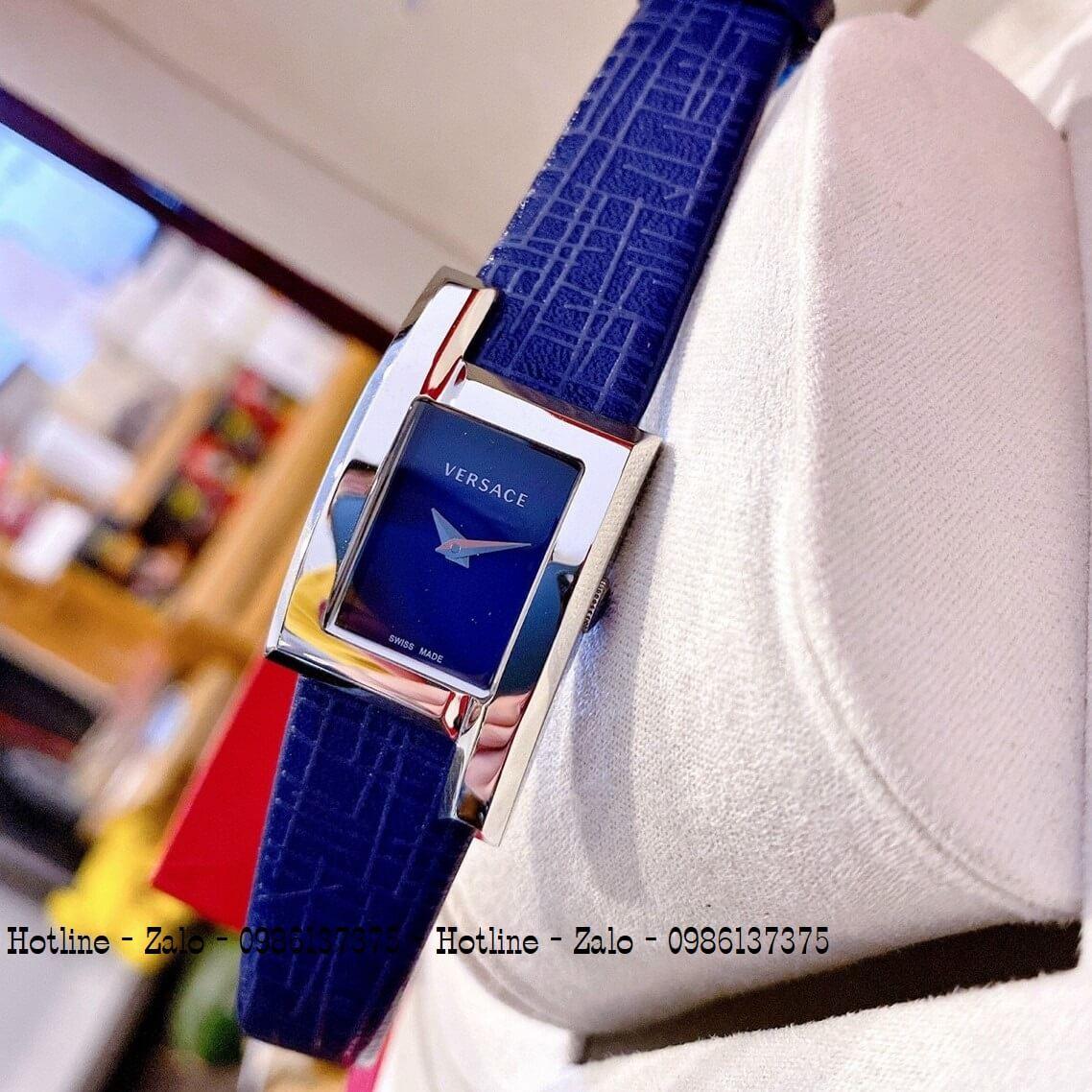 Đồng Hồ Nữ Versace Greca Icon Dây Da Xanh Silver 30mm