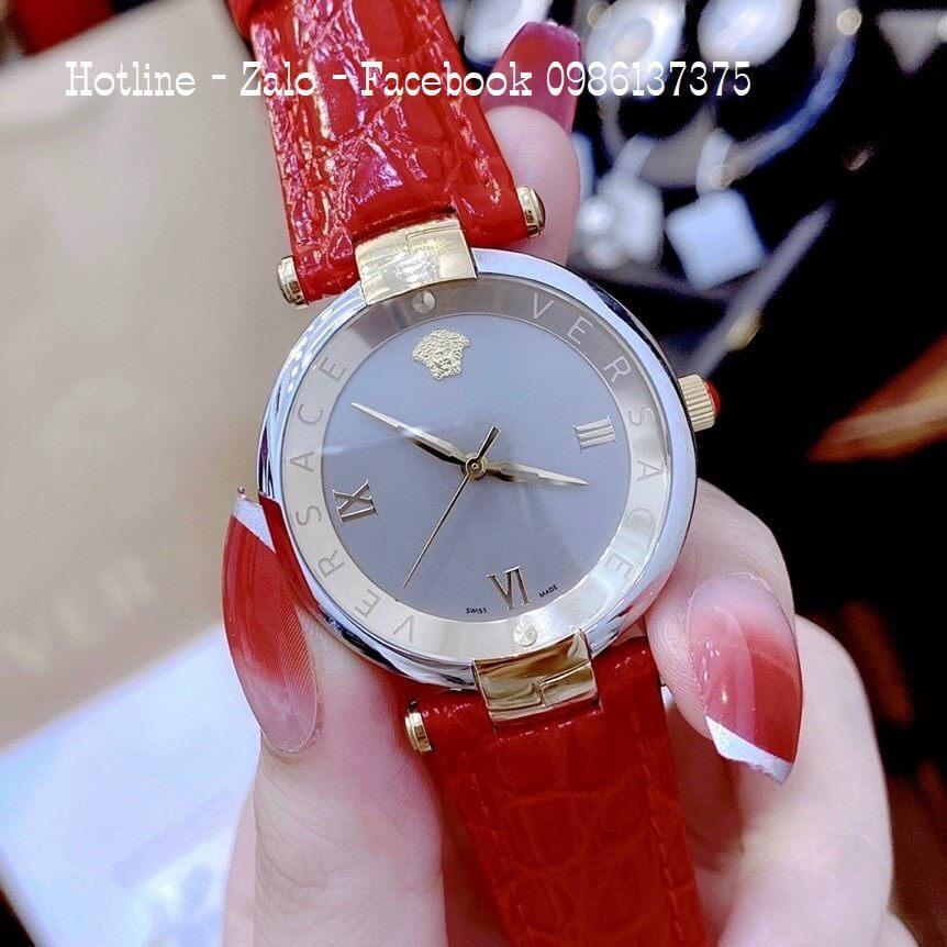 Đồng Hồ Nữ Versace Revive Dây Da Đỏ 35mm