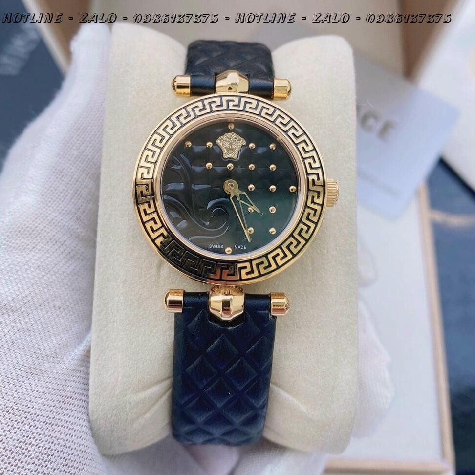 Đồng Hồ Nữ Versace Mini Vanitas 30mm Dây Da Đen