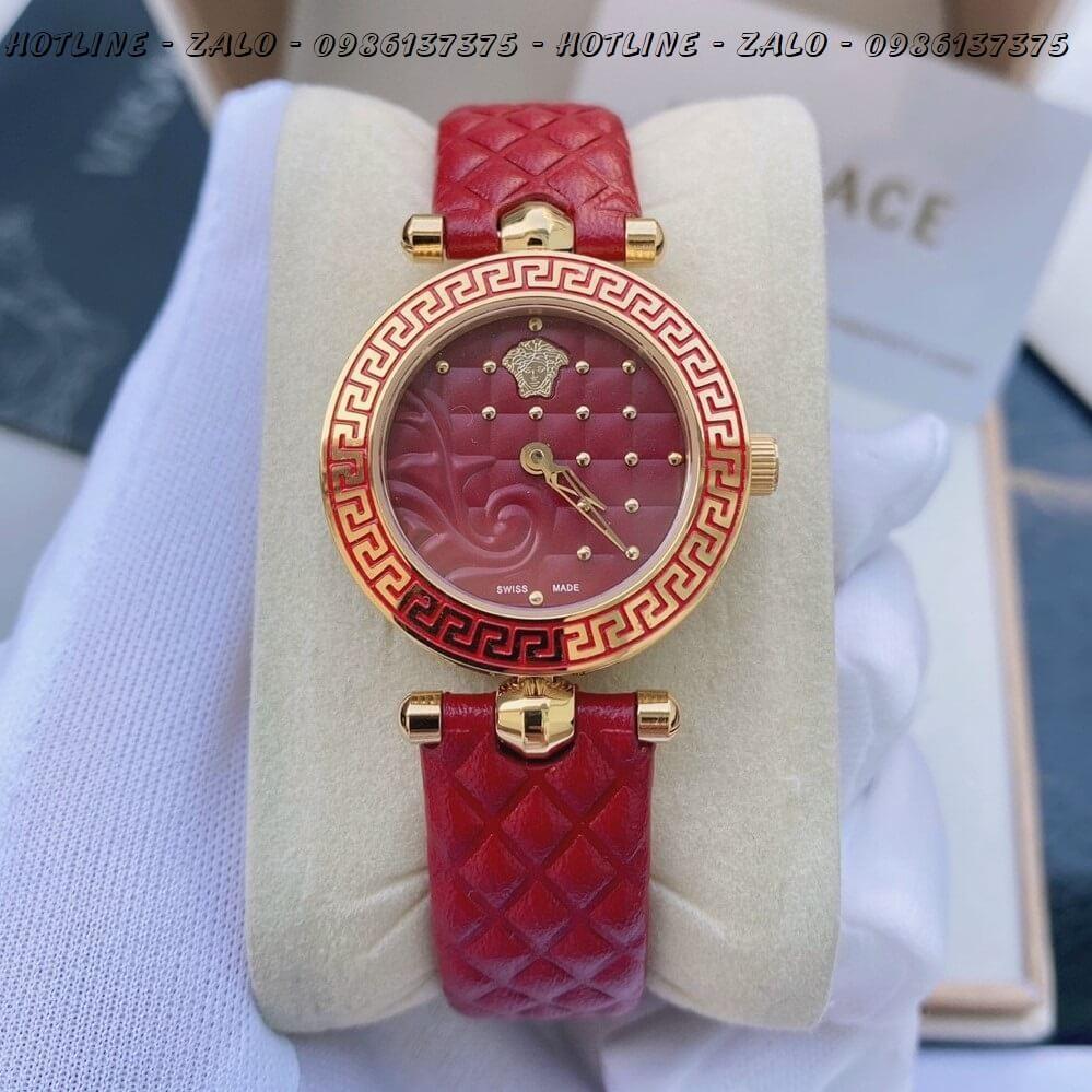 Đồng Hồ Nữ Versace Mini Vanitas 30mm Dây Da Đỏ