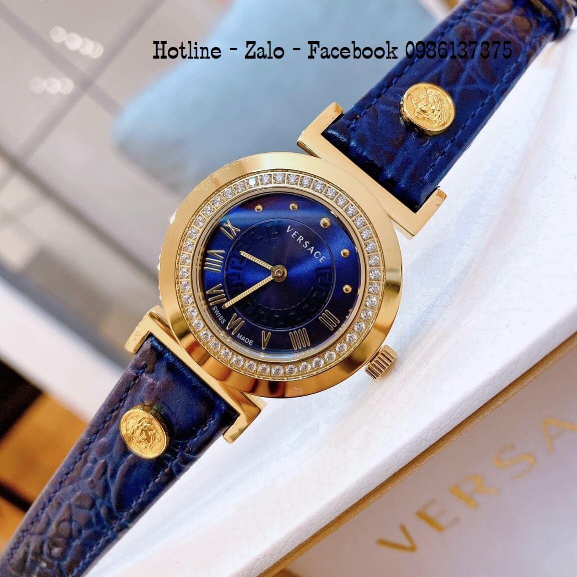Đồng Hồ Nữ Versace Vanity Dây Da Xanh Blue Đính Đá 35mm
