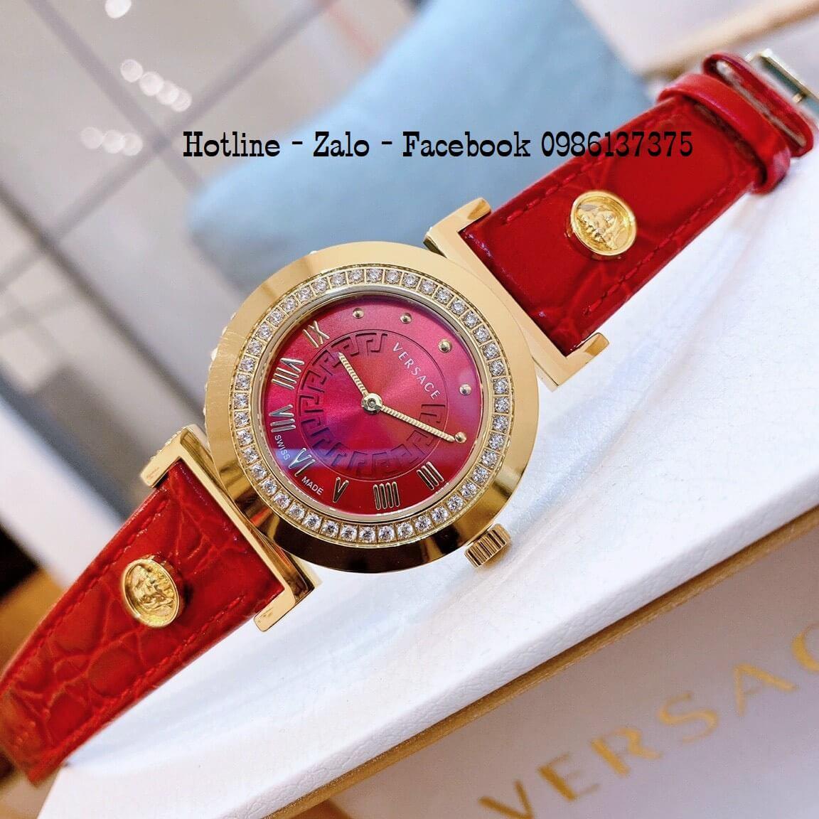 Đồng Hồ Nữ Versace Vanity Dây Da Đỏ Đính Đá 35mm