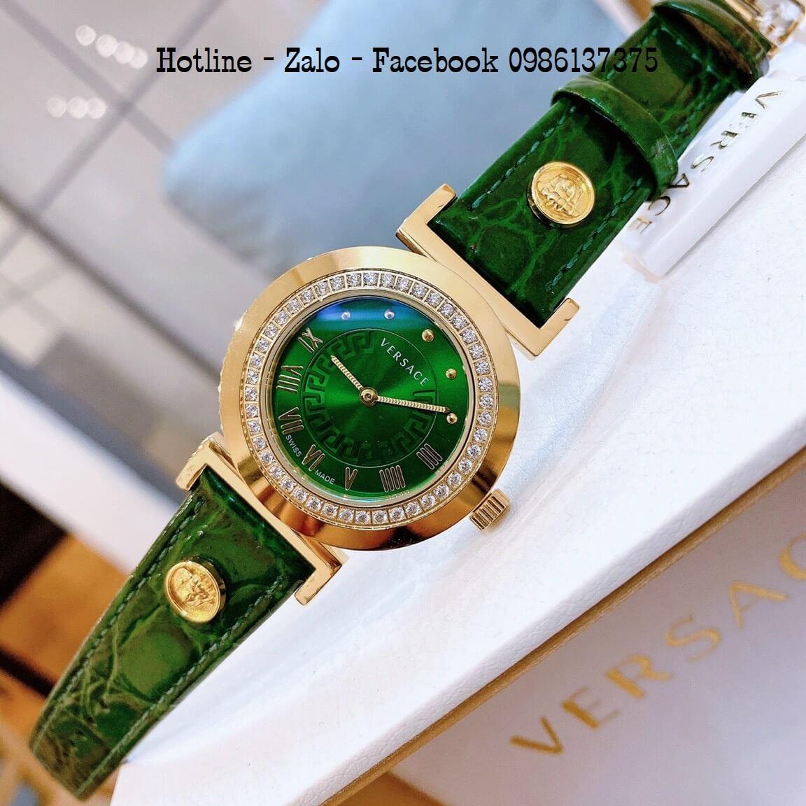 Đồng Hồ Nữ Versace Vanity Dây Da Xanh Green Đính Đá 35mm