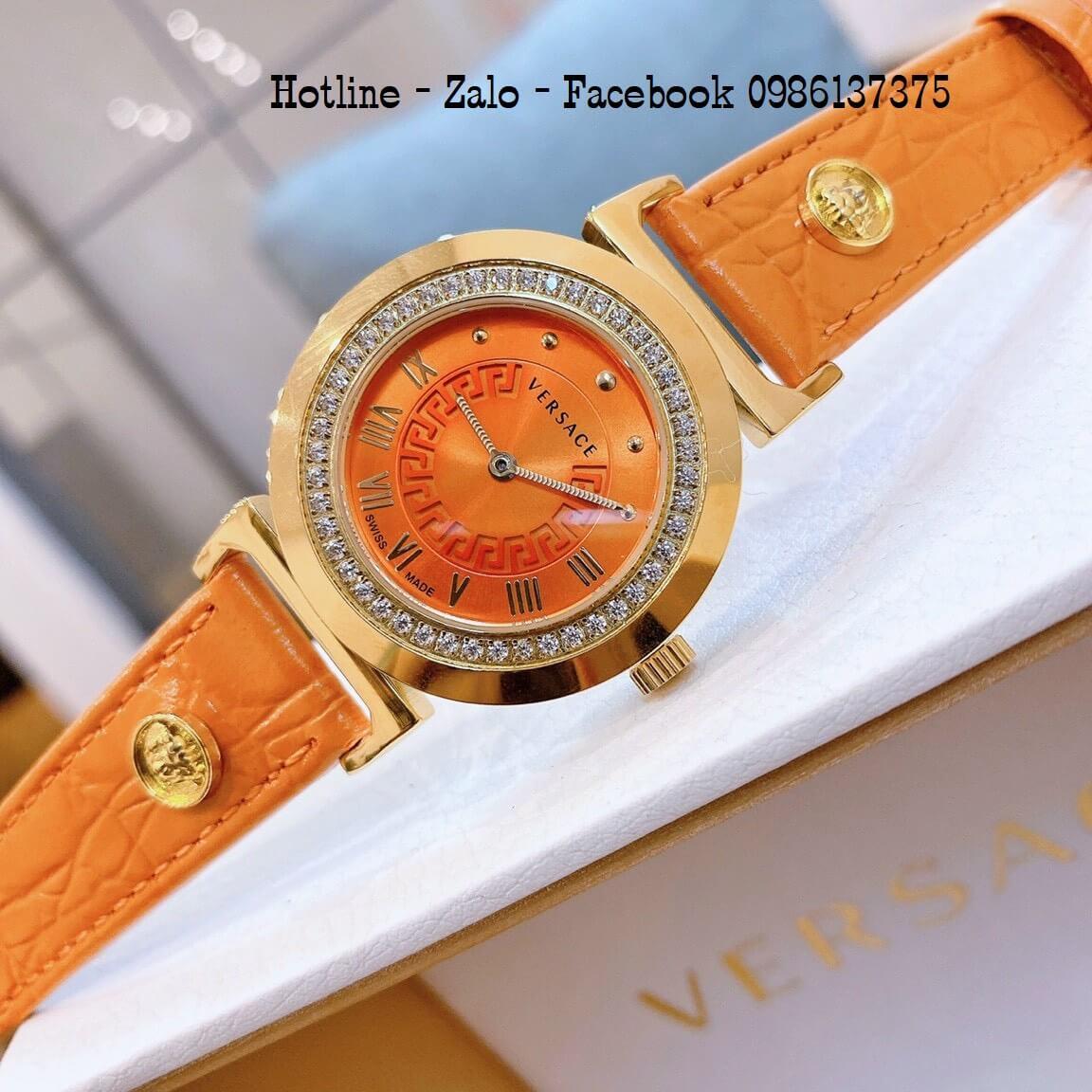 Đồng Hồ Nữ Versace Vanity Dây Da Cam Đính Đá 35mm