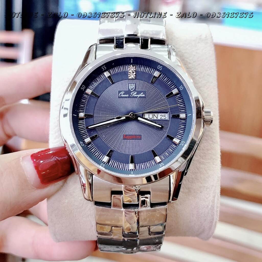 Đồng Hồ OP Nam 3 Kim Bạc Mặt Xanh Dương 40mm Sapphire