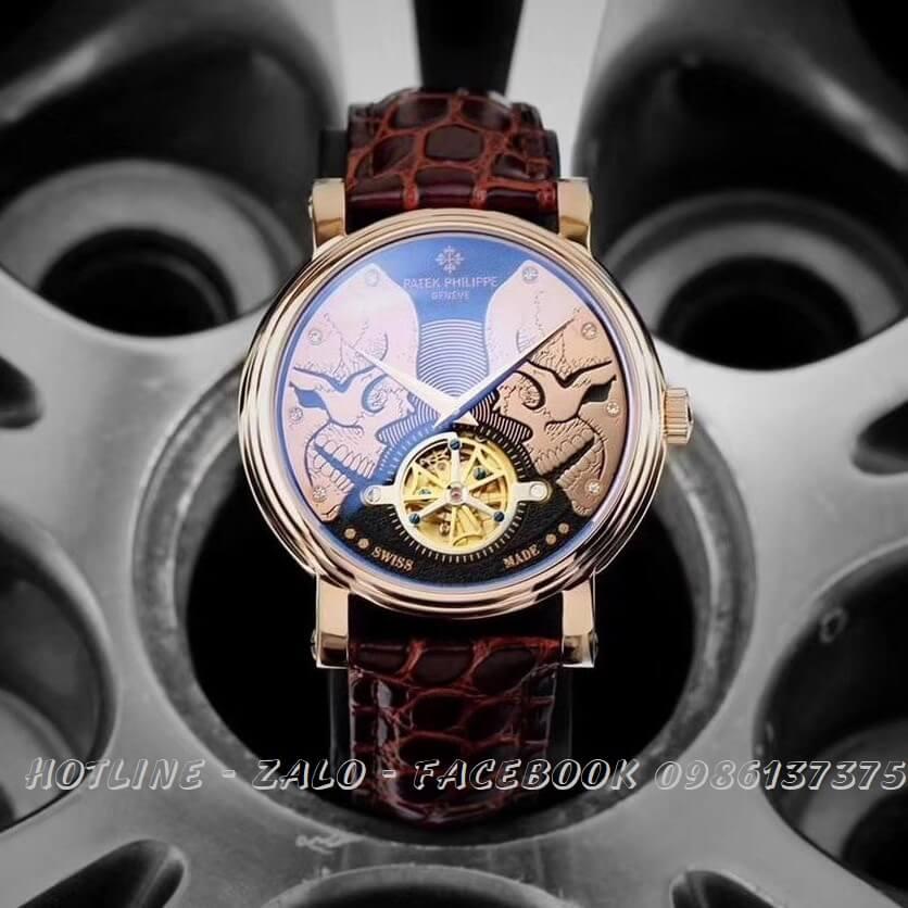 Đồng Hồ Patek Philippe Automatic Nam Dây Da Nâu Rose Gold 42mm
