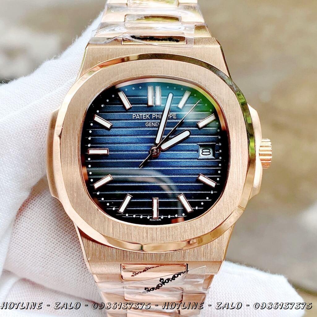 Đồng Hồ Nam Patek Philippe Automatic Rose Gold Mặt Xanh 40mm