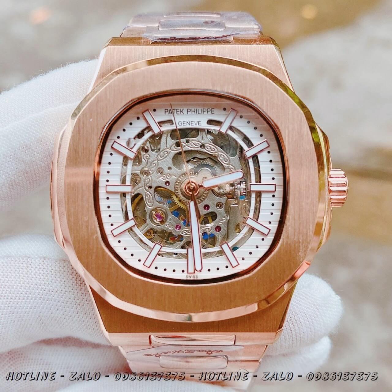 Đồng Hồ Nam Patek Philippe Automatic Lộ Máy Rose Gold 40mm