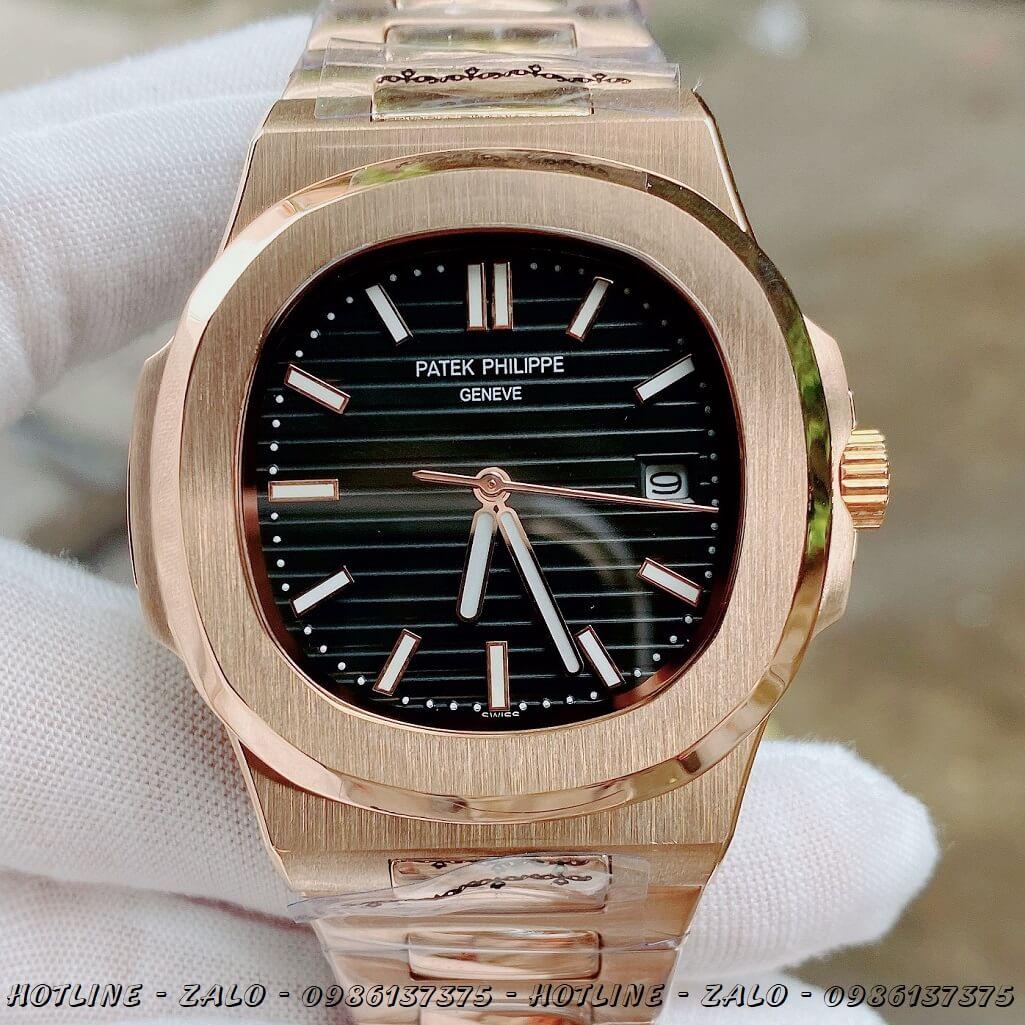 Đồng Hồ Nam Patek Philippe Automatic Rose Gold Mặt Đen 40mm