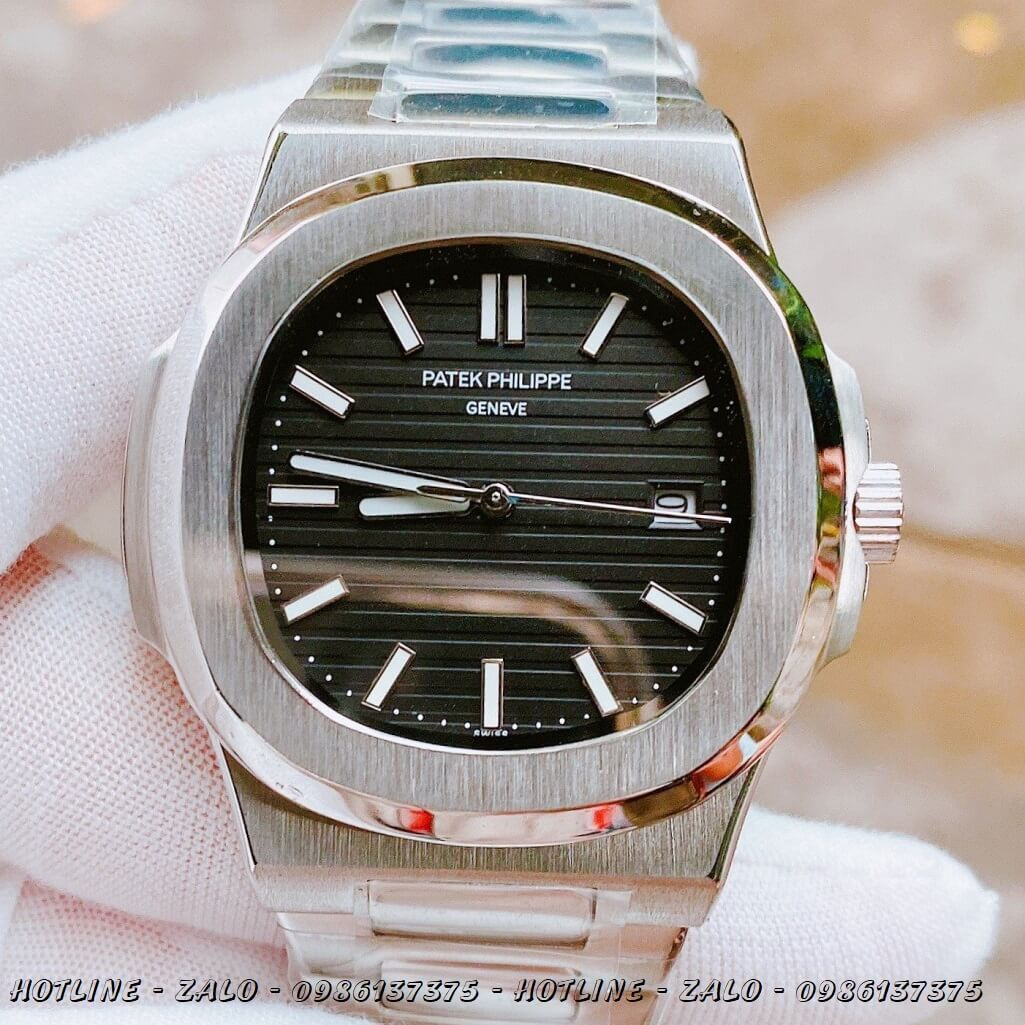Đồng Hồ Nam Patek Philippe Automatic Bạc Mặt Đen 40mm