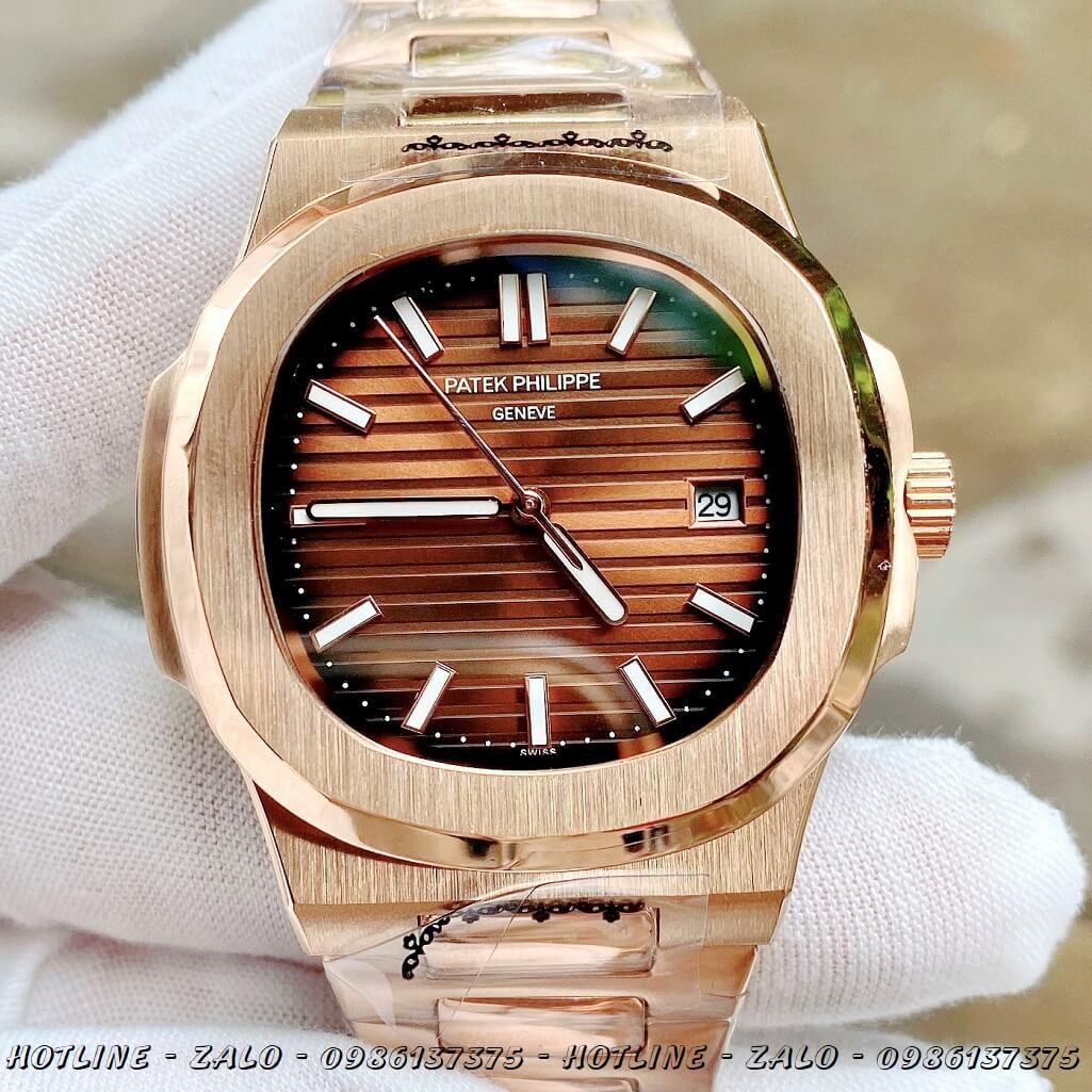 Đồng Hồ Nam Patek Philippe Automatic Rose Gold Mặt Nâu 40mm