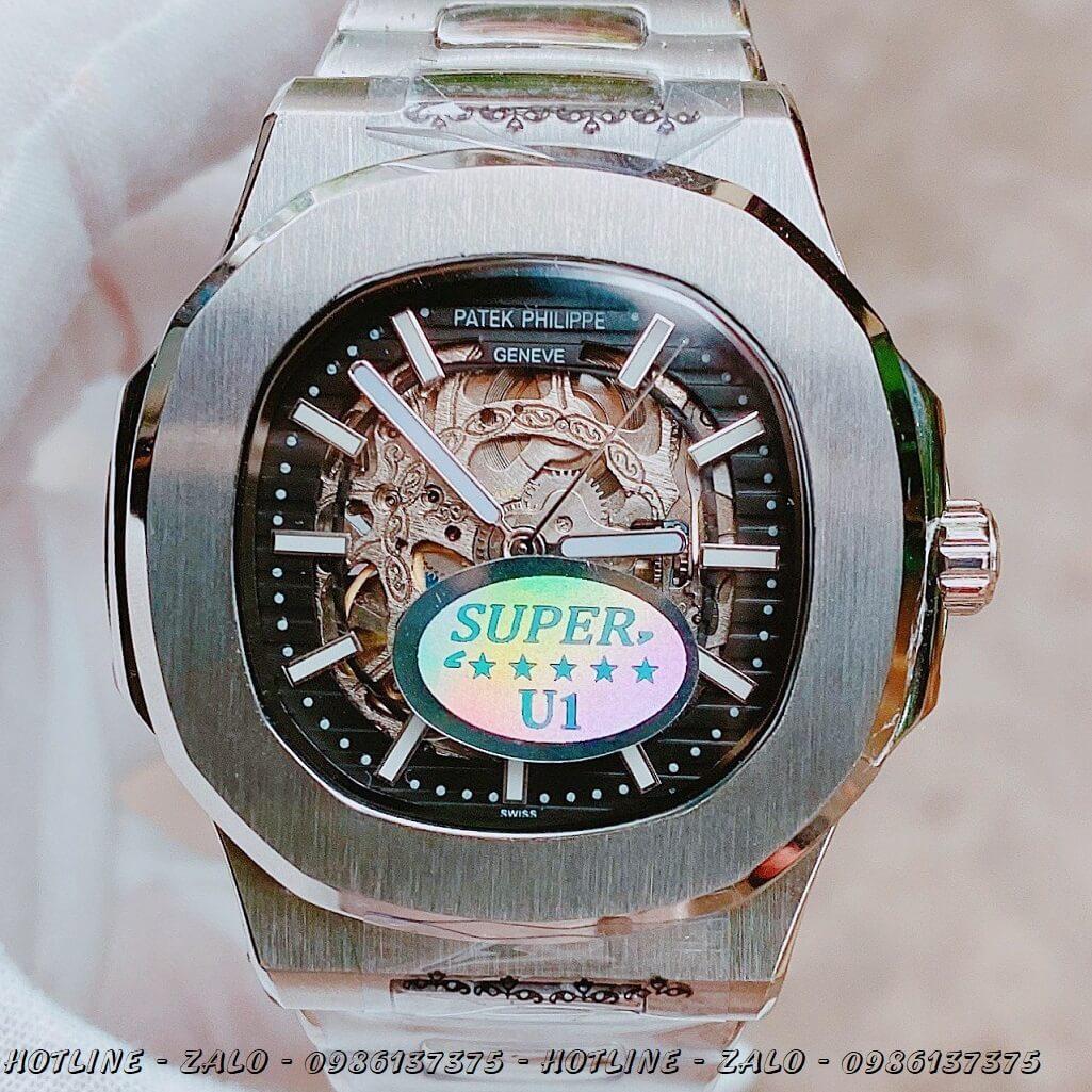 Đồng Hồ Nam Patek Philippe Automatic Lộ Máy Silver Mặt Đen 40mm