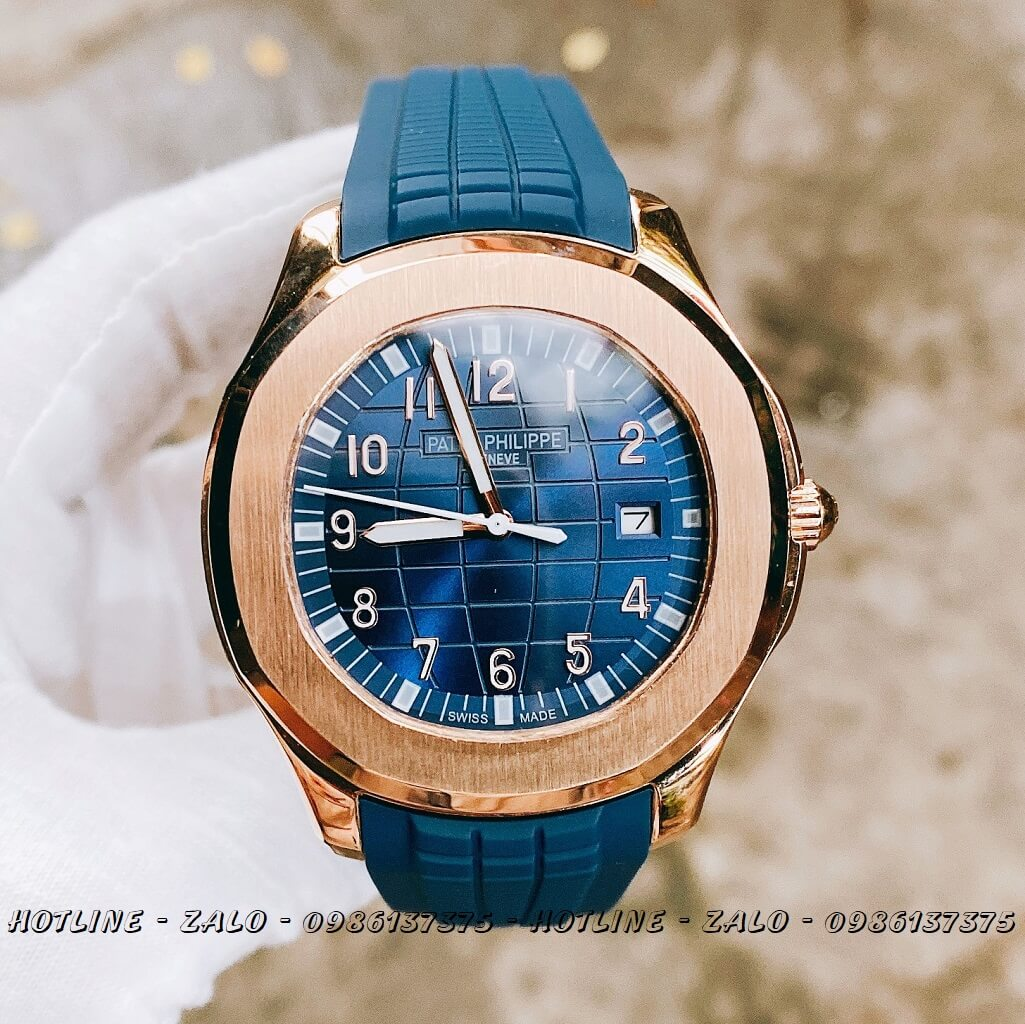 Đồng Hồ Nam Patek Philippe Automatic Silicon Xanh Rose Gold 40mm