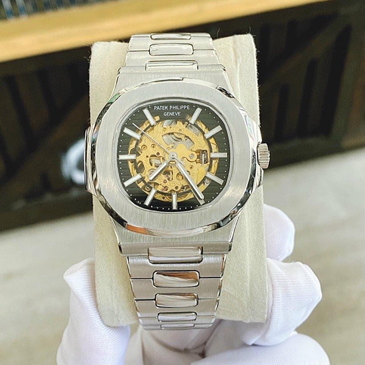 Đồng Hồ Patek Philippe Automatic Nam Lộ Máy Vàng Đen 40mm
