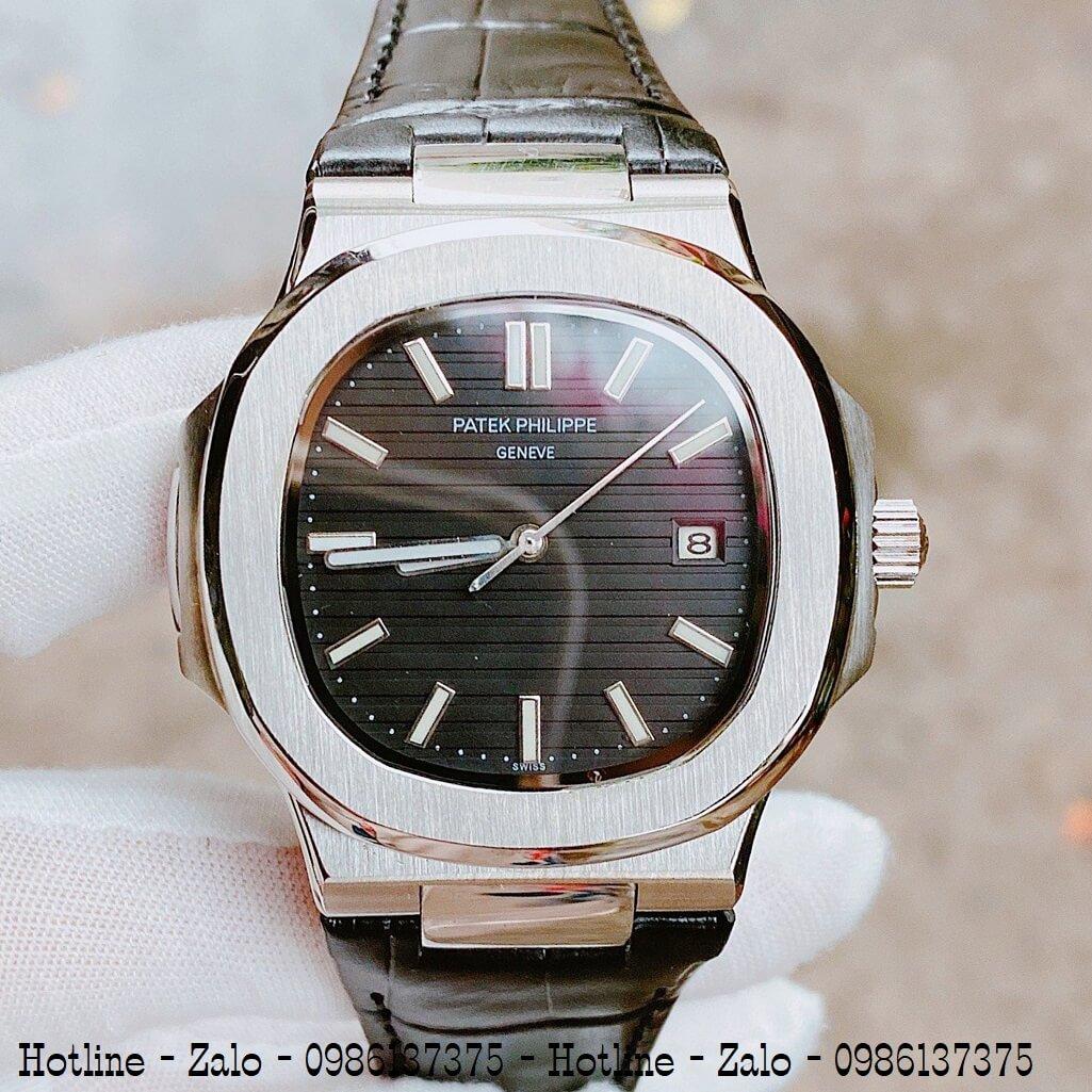 Đồng Hồ Nam Patek Philippe Automatic Dây Da Đen Silver 40mm
