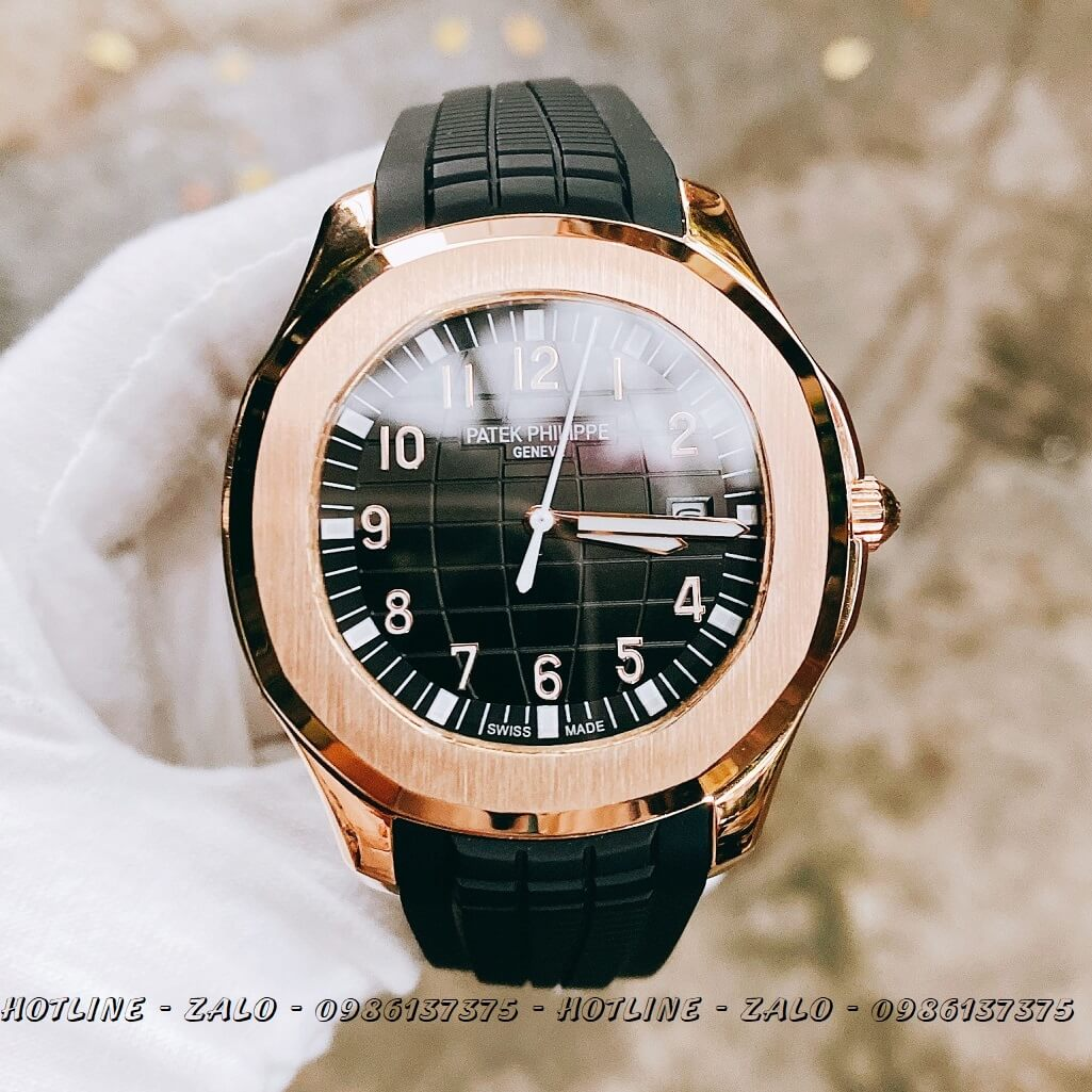 Đồng Hồ Nam Patek Philippe Automatic Silicon Đen Rose Gold 40mm