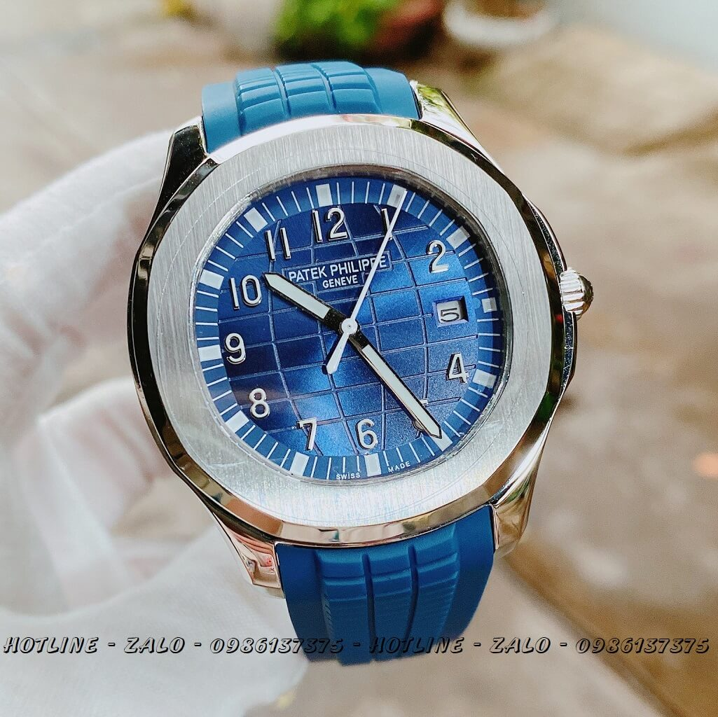 Đồng Hồ Nam Patek Philippe Automatic Silicon Xanh Silver 40mm