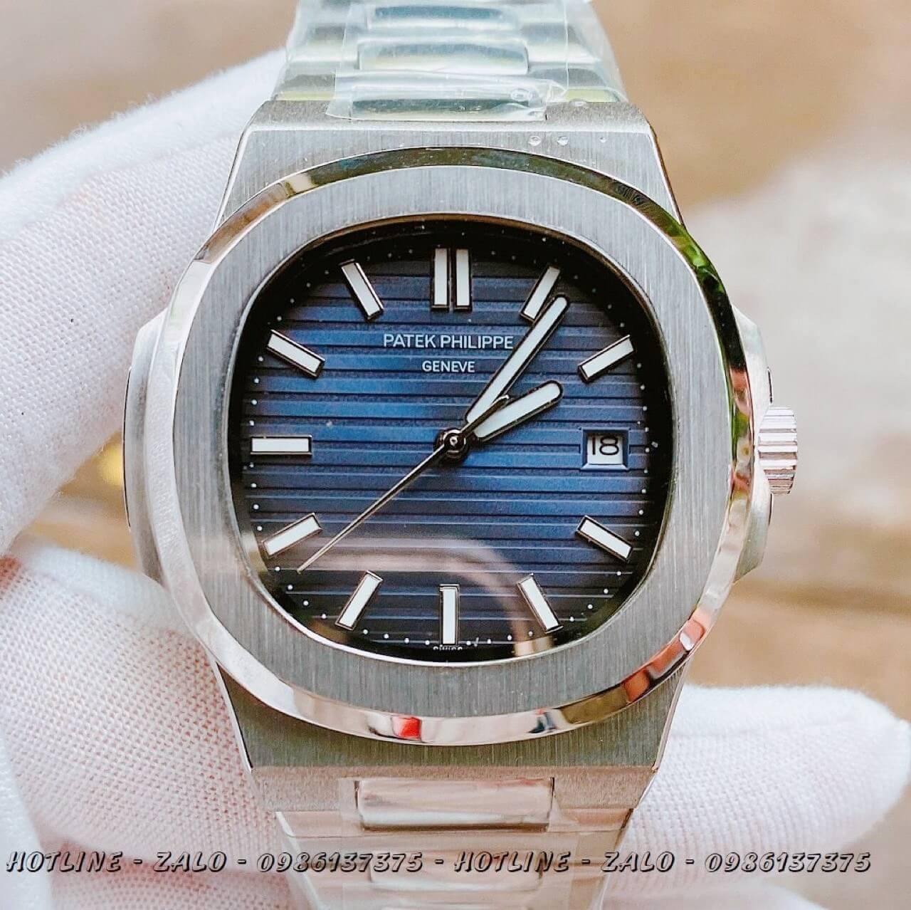 Đồng Hồ Nam Patek Philippe Automatic Bạc Mặt Xanh 40mm