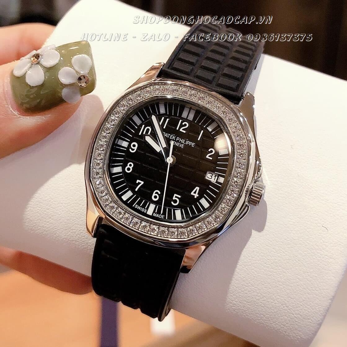 Đồng Hồ Patek Philippe Nữ Dây Silicon Đen Silver 35mm