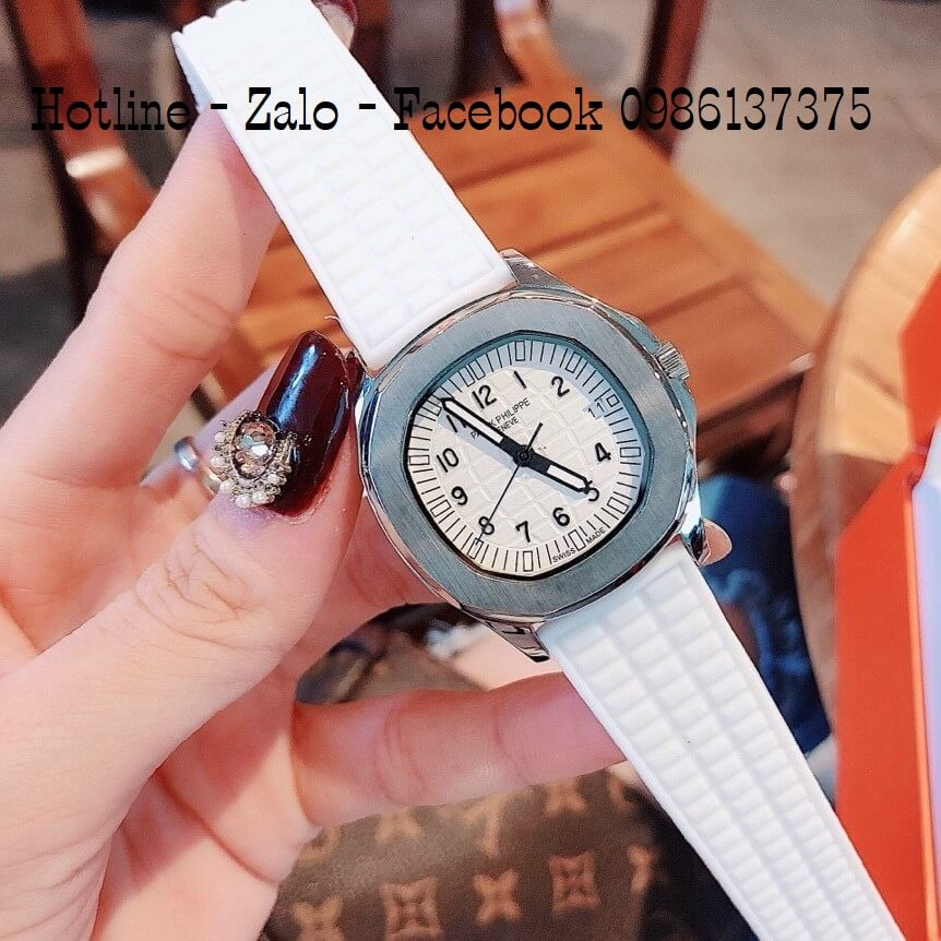 Đồng Hồ Nữ Patek Philippe Silicon Trắng Silver 35mm