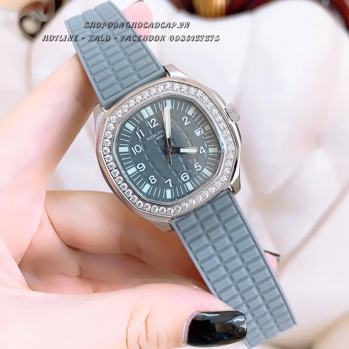 Đồng Hồ Patek Philippe Nữ Dây Silicon Xám Silver 35mm