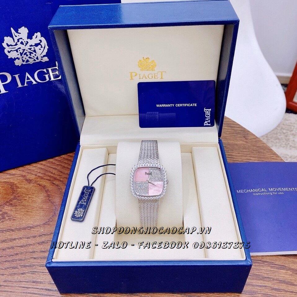 Đồng Hồ Piaget Nữ Dây Mesh Bạc Mặt Đính Đá 35mm