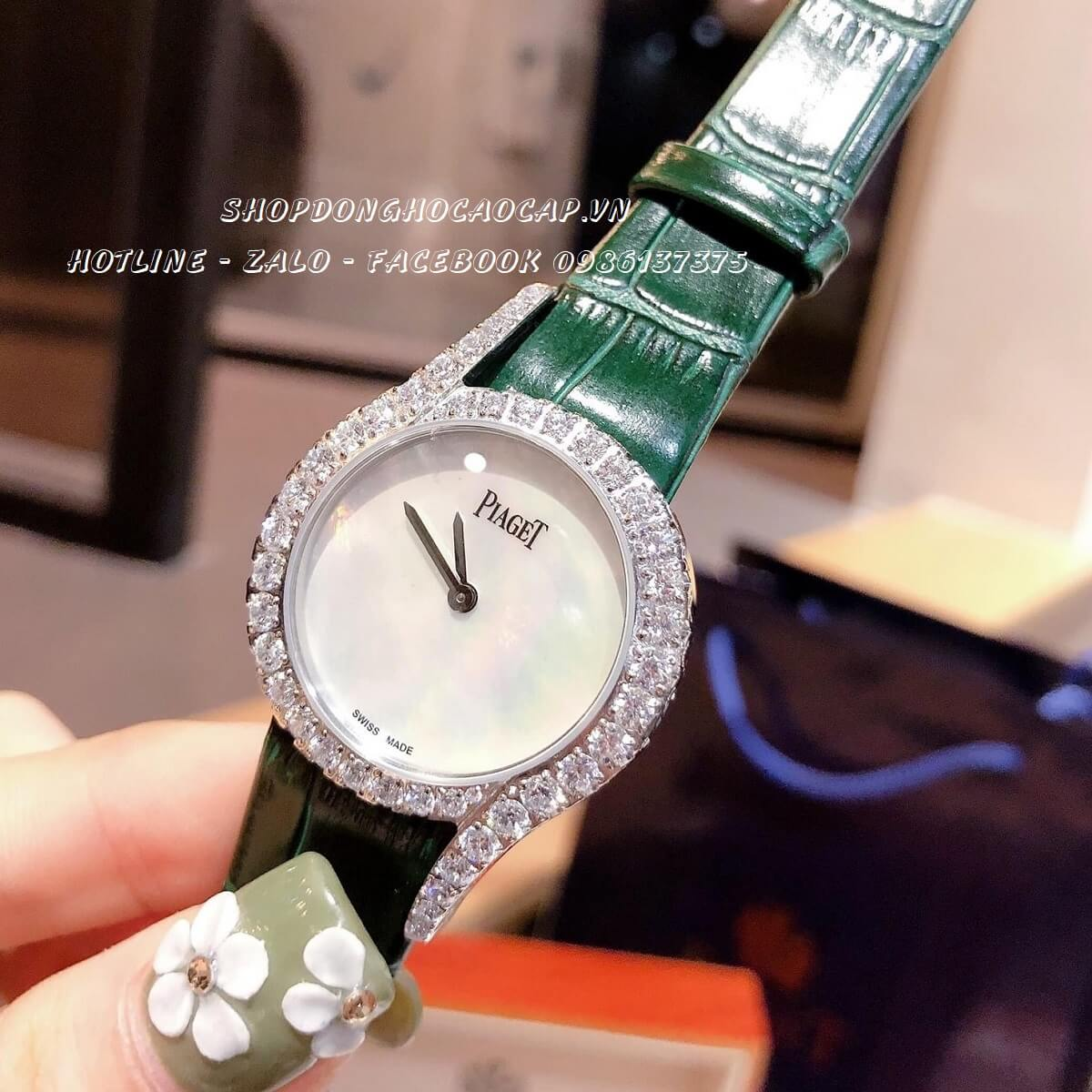 Đồng Hồ Piaget Nữ Dây Da Xanh Silver 32mm