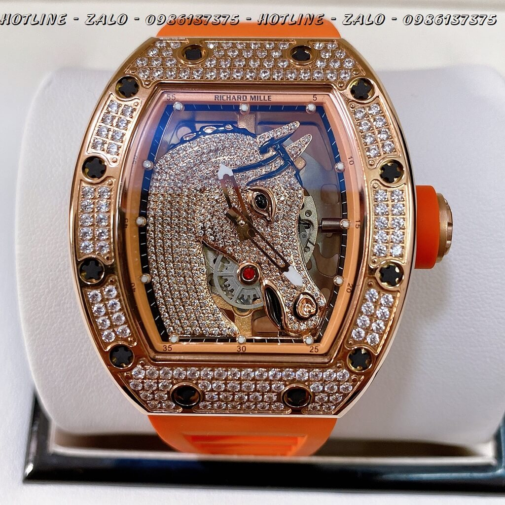 Đồng Hồ Nam Richard Mille Automatic Mặt Ngựa Silicon Cam 42x50mm