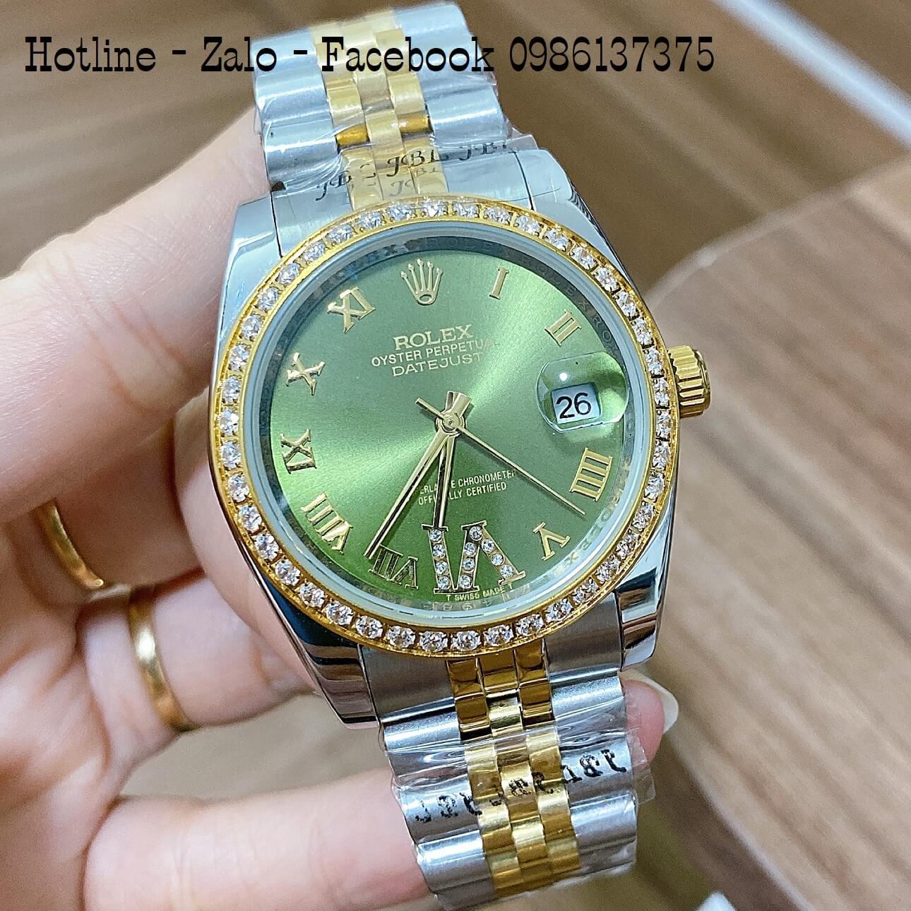 Đồng Hồ Rolex Automatic Nam Nữ Demi Vàng Mặt Xanh Đính Đá 36mm