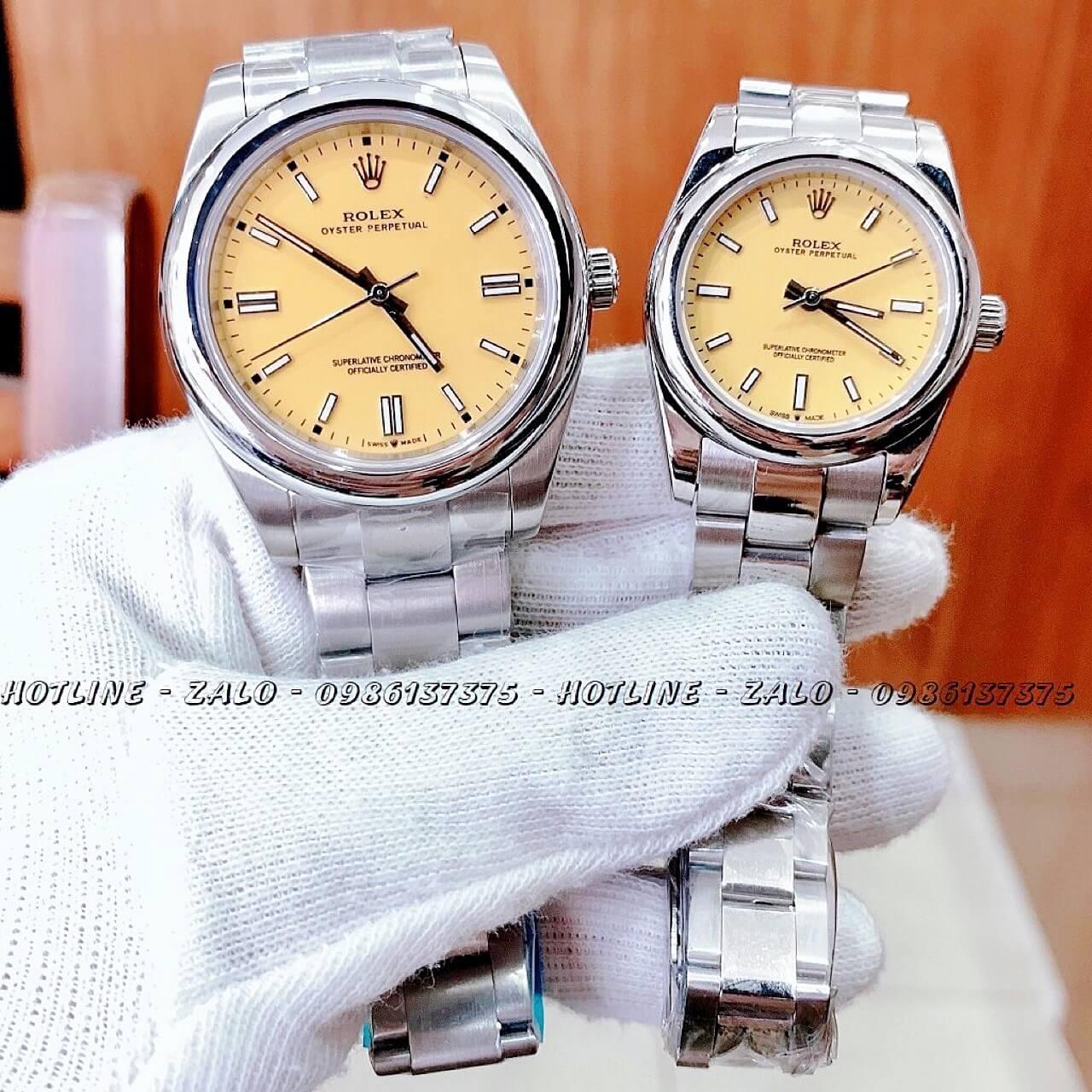 Đồng Hồ Rolex Automatic Cặp Đôi Siêu Cấp Bạc Mặt Vàng Chanh 40mm - 30mm