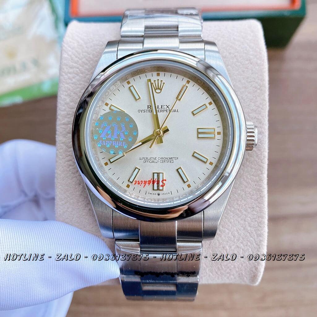 Đồng Hồ Rolex Nam Automatic Dây Bạc Mặt Trắng 41mm