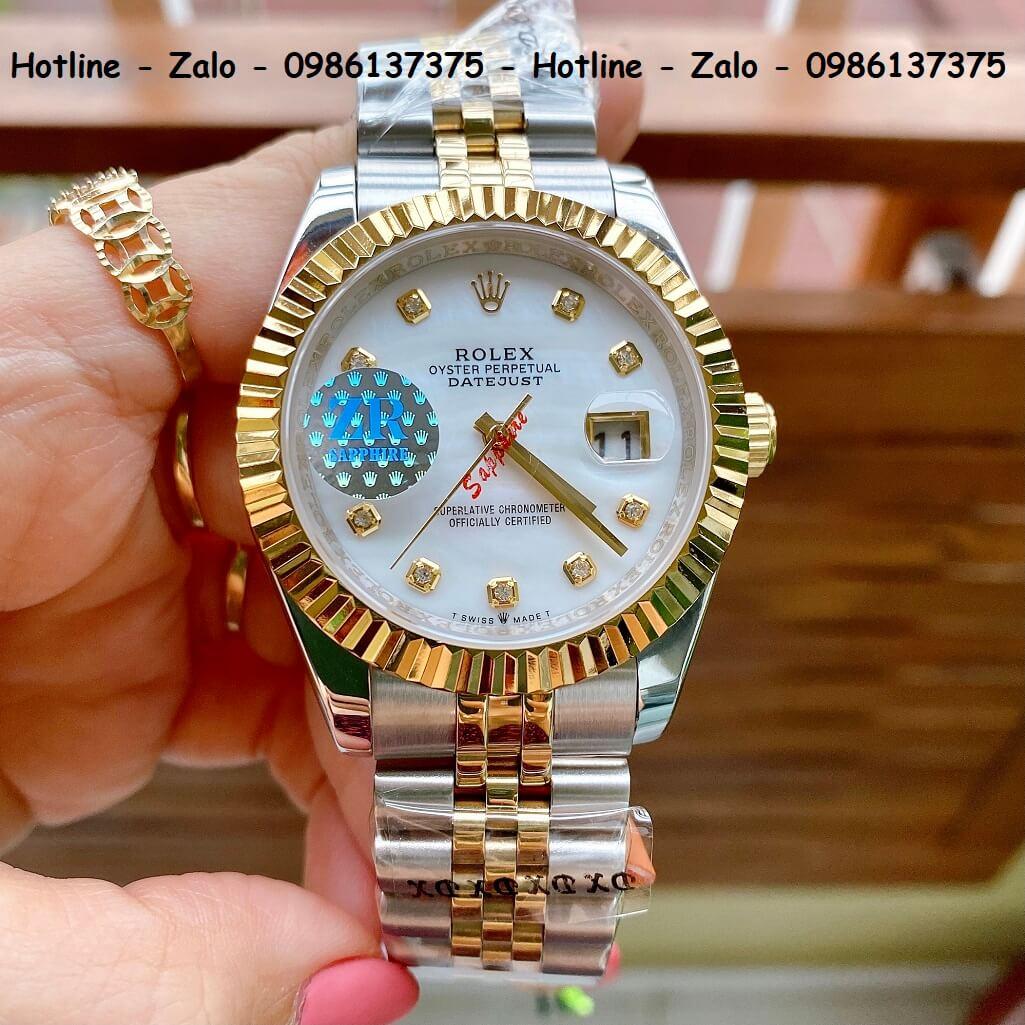 Đồng Hồ Nam Rolex Oyster Datejust Automatic Demi Vàng Mặt Trắng Xà Cừ 41mm