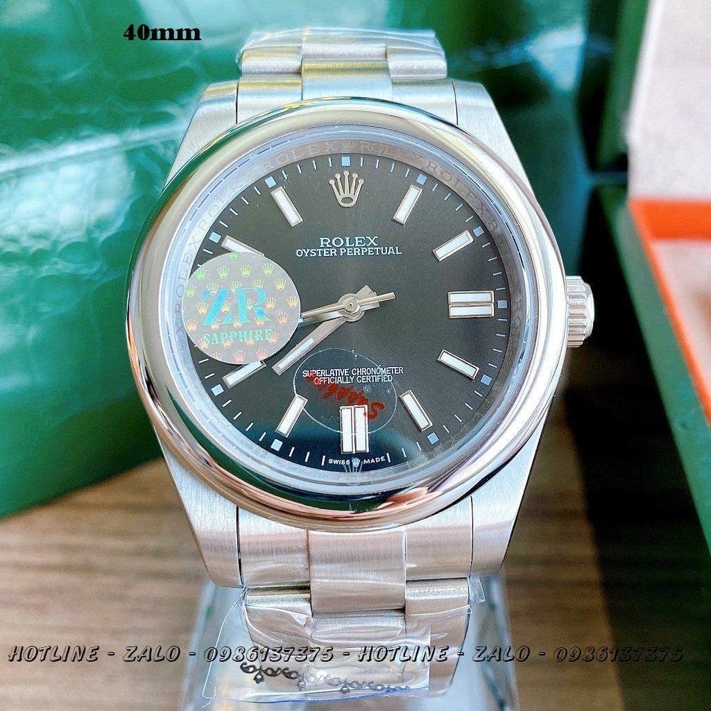 Đồng Hồ Rolex Nam Automatic Dây Bạc Mặt Đen 41mm