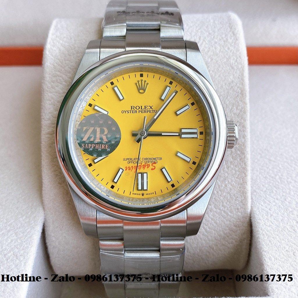 Đồng Hồ Rolex Nam Automatic Dây Bạc Mặt Vàng 41mm
