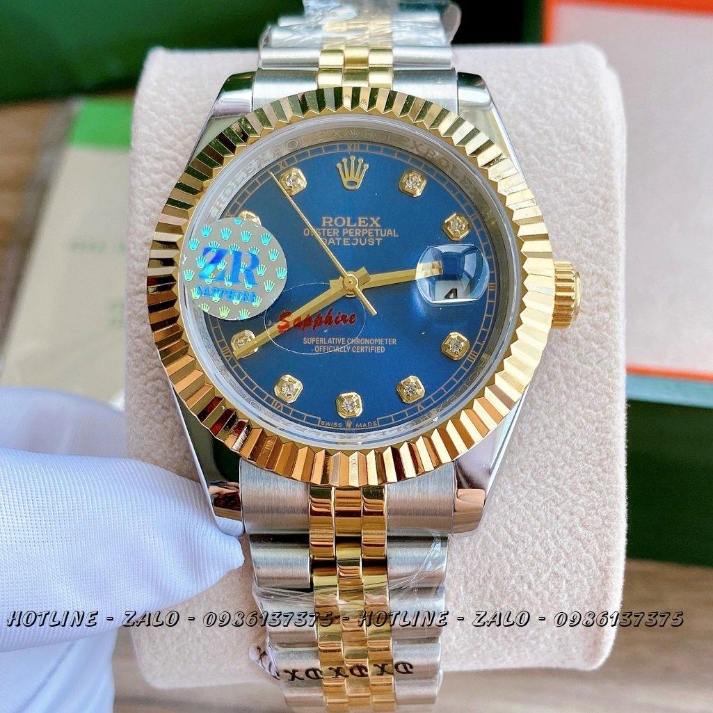 Đồng Hồ Rolex Nam Automatic Demi Mặt Khía Xanh Dương41mm