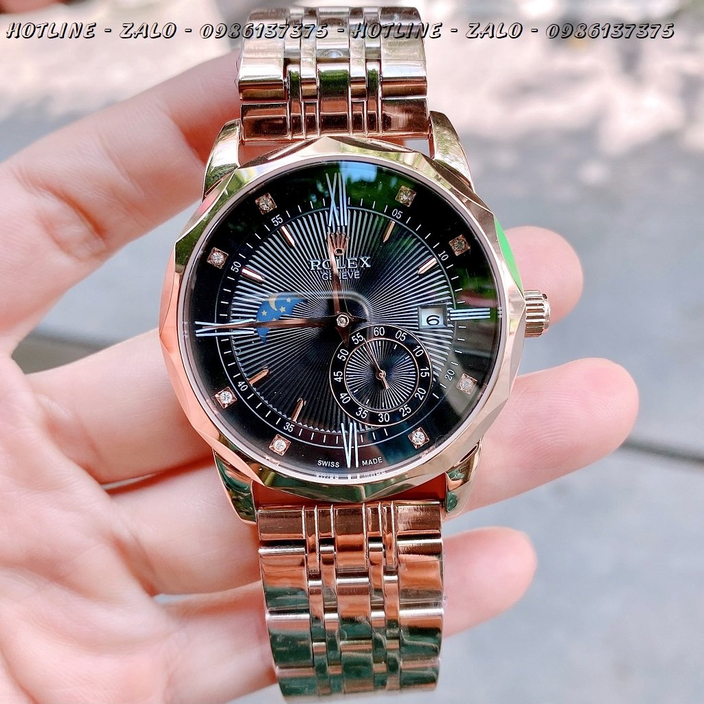Đồng Hồ Rolex Nam Automatic Mặt Đen Rose Gold 41mm