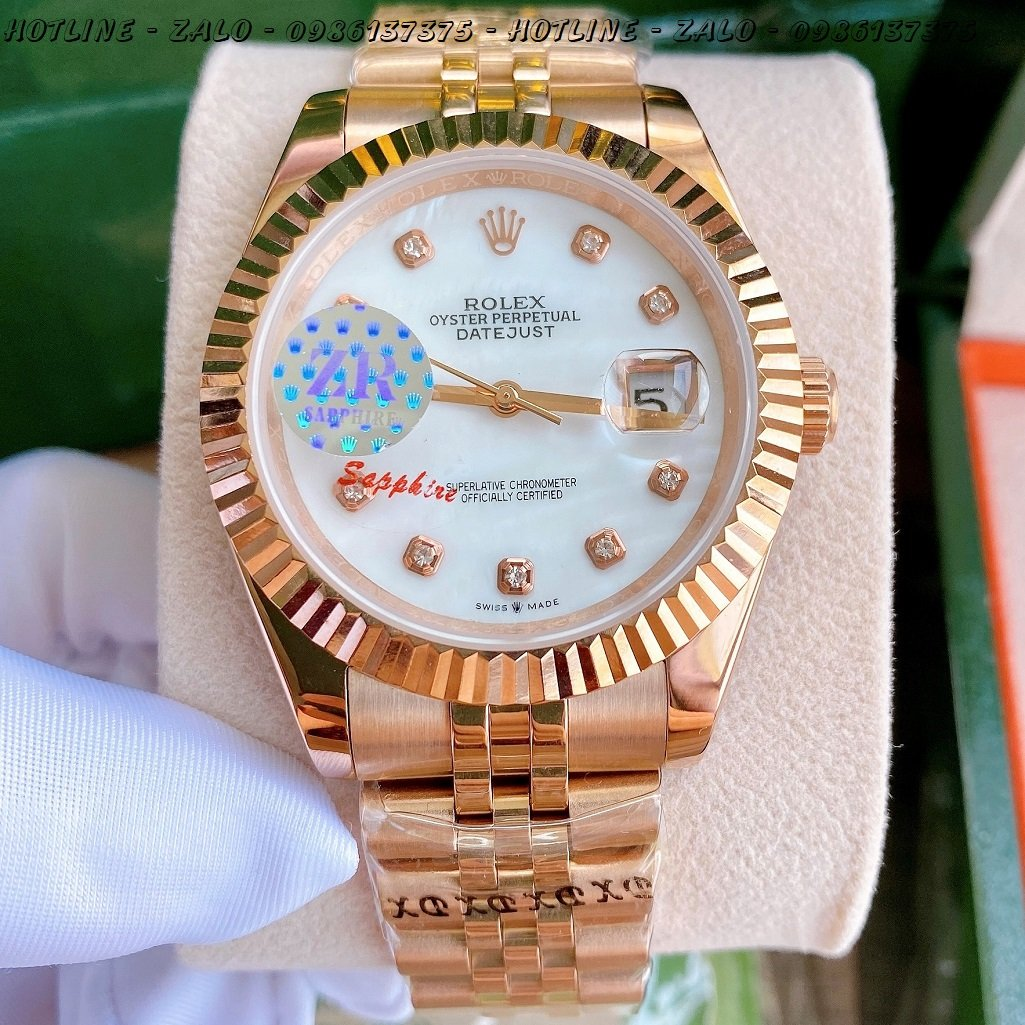 Đồng Hồ Rolex Nam Automatic Mặt Khía TrắngNgọc Rose Gold 41mm