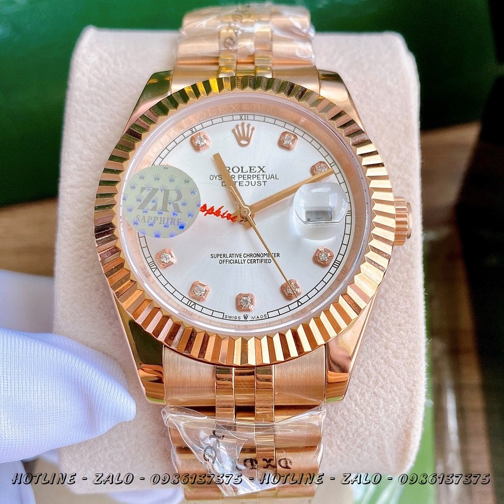 Đồng Hồ Rolex Nam Automatic Mặt Khía Trắng Rose Gold 41mm