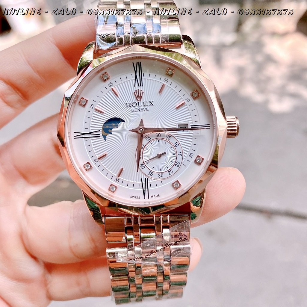 Đồng Hồ Rolex Nam Automatic Mặt Trắng Rose Gold 41mm