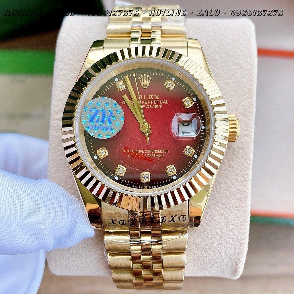Đồng Hồ Rolex Nam Automatic Vàng Mặt Khía Đỏ41mm