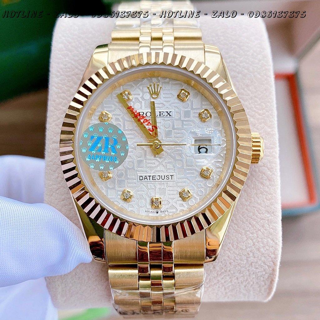 Đồng Hồ Rolex Nam Automatic Vàng Mặt Khía Vi Tính41mm