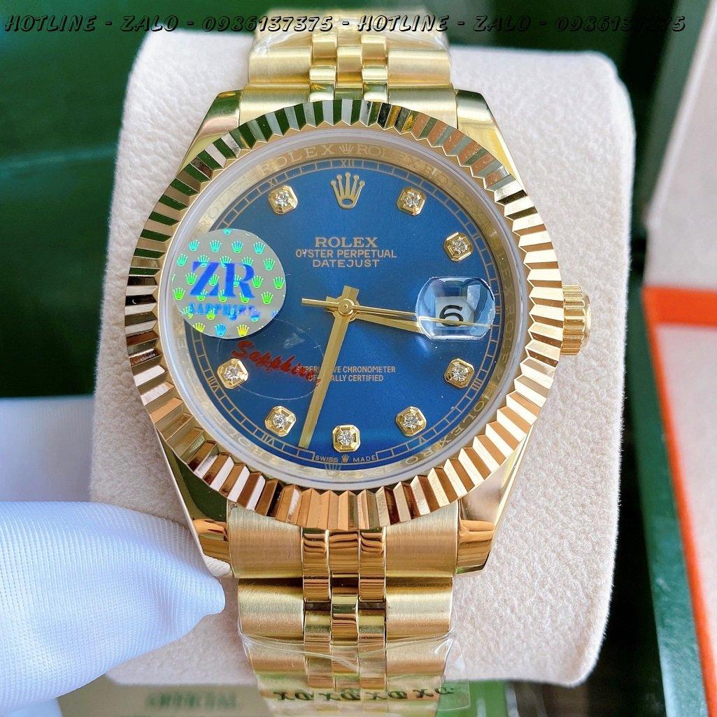 Đồng Hồ Rolex Nam Automatic Vàng Mặt Khía Xanh Dương41mm