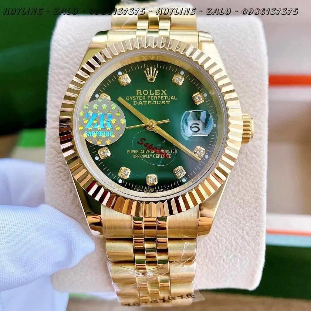 Đồng Hồ Rolex Nam Automatic Vàng Mặt Khía Xanh Lá41mm