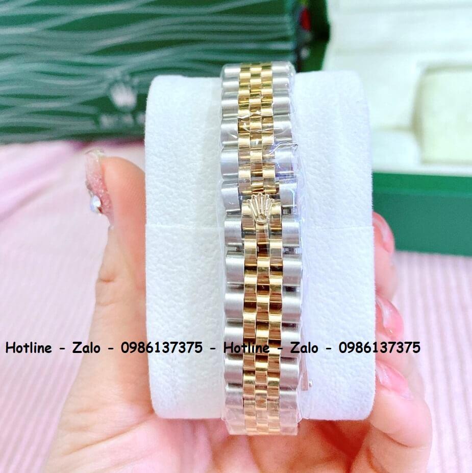 Đồng Hồ Cặp Rolex Demi Vàng Mặt Xanh Xà Cừ 36mm - 32mm