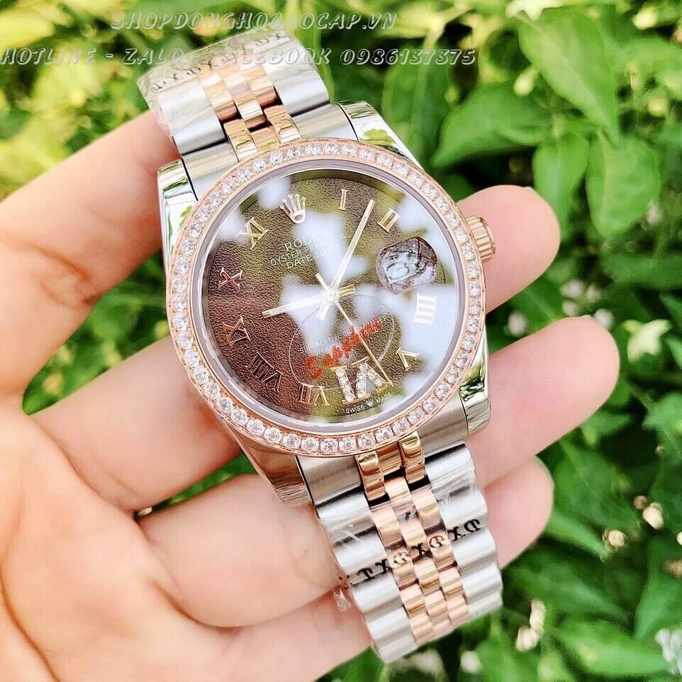 Đồng Hồ Rolex Nam Nữ Pin Demi Mặt Nâu 36mm